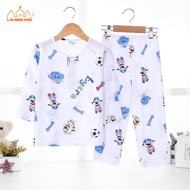 ec9461332 Summer Baby Boys Pajamas Sets 2 Pcs Long Sleeve Cartoon Children ...