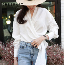6b9bf4196b0917 Cheerart Wrap Blouse Long Sleeve Ladies Blouses Tie Front Crop Top  Asymmetrical White Women Blouse Designer