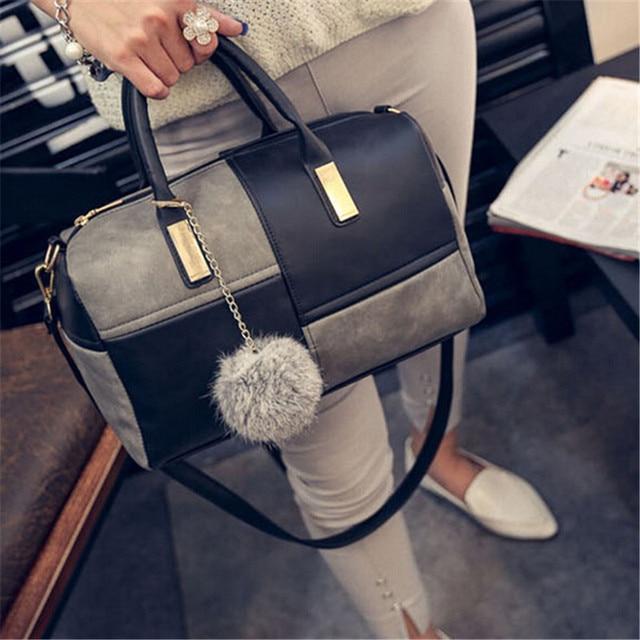 2017 Women Fashion Handbag Shoulder Bags With Pendant Tote Purse PU Leather Messenger Hobo Bag High Quality Free Shipping P157