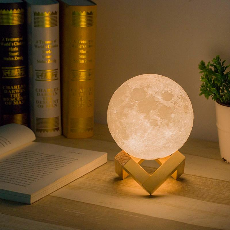Litake Simulation 3D Moon Lamp LED Night Light 3 LED 3D Print USB Rechargeable Moonlight Desk Lamp with Wood Base