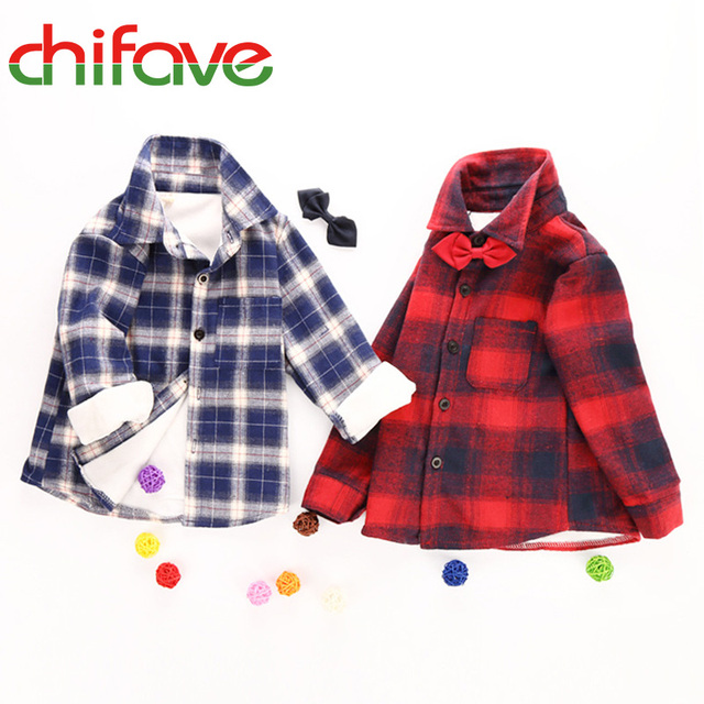 2016 New Winter Boys Grid Thick Blouse Children Clothing Kids Boys Long Sleeve Grid Cotton Padded Warm Shirt Baby Casual Shirts