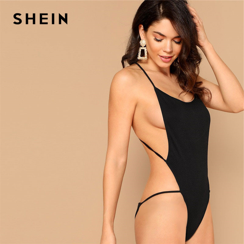 SHEIN Black Criss Cross Backless Open Side Cheeky Bodysuit Summer Sexy Sleeveless Spaghetti Strap Skinny Body Suits For Women 1