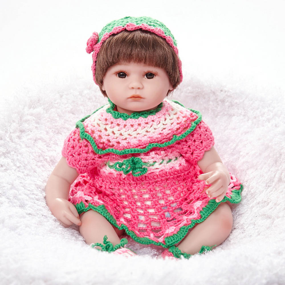 18 inches Lovely Newborn Girl Doll Silicone Soft Realistic Baby Reborn Dolls with Cloth Body Toy for Kids Birthday Xmas Gift 22 inches soft silicone reborn baby dolls cloth body real looking newborn alive girl babies boneca toy kids birthday xmas gift