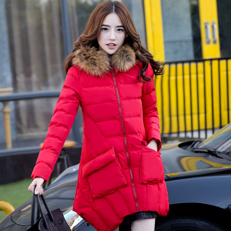 New Arrival Fashion Winter Casual Hooded Collar With Fur Irregularity Hem Mid-Long Thicken Cotton Outwear Women Coat H6458 new arrival fashion korean winter hooded cotton adjustable hem double breasted puff sleeve fur collar women jacket coat h4283