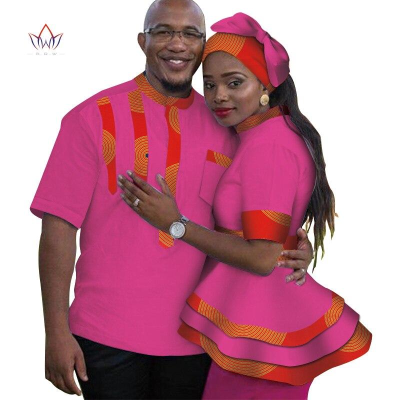 2019 été vêtements africains pour couples femmes haut et hommes chemise vêtements de famille couples correspondant vêtements pour amoureux o-cou wyq170