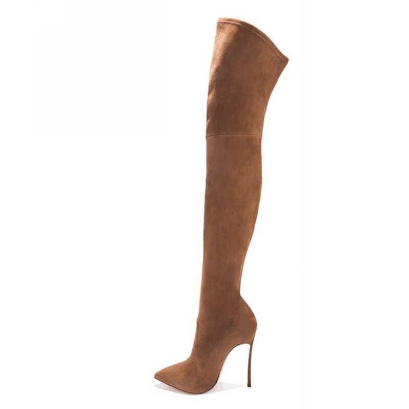 35-43 PU/suede 2 optie plus size punt teen lente over de knie laarzen vrouwen schoenen 2017 lange knie laarzen met metalen hakken