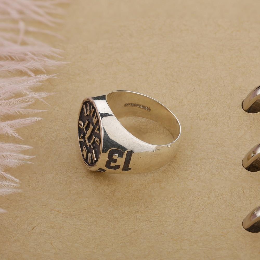 Bague de bracelet pour hommes | En argent Sterling 925 pur, modèle Vintage, motif de nombres, bijoux, cadeau pour hommes, bague luxueuse
