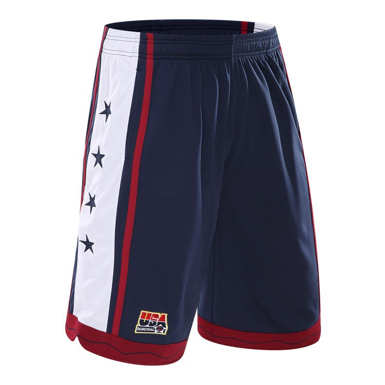 NEW 2020 Outdoor Sport <font><b>USA</b></font> Basketball <font><b>Shorts</b></font> Trainning White /Red /Navy blue Baggy <font><b>shorts</b></font> men with pockets plus size M-3XL image