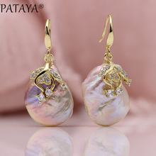 PATAYA New Arrivals Freshwater Irregular Pearls Earrings White Round Natural Zirconia Earrings Women Luxury Wedding Gold Jewelry