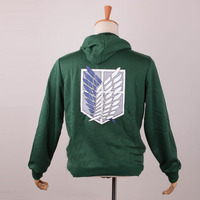 Anime Attack On Titan Hoodie Shingeki No Kyojin The Survey Corps Eren Cosplay Green Coat Hoodie