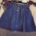 Горячая 2017 весной новой Корейской версии высокой Джокер джинсы джинсовой ткани женщин выше колена юбка двубортный Линии юбка