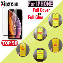 Sinzean 50pcs For IPHONE XS MAX/XR 2.5D Full Cover Tempered Glass For IPHONE 678 Plus/6S 5D/6D/9D Full Glue Screen Protector