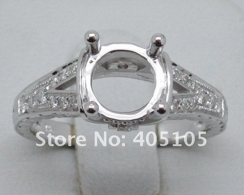 Nuevas Adquisiciones 6.5mm Ronda Shape14kt Oro Blanco Diamante Del Contrato Del Anillo de Montaje Semi