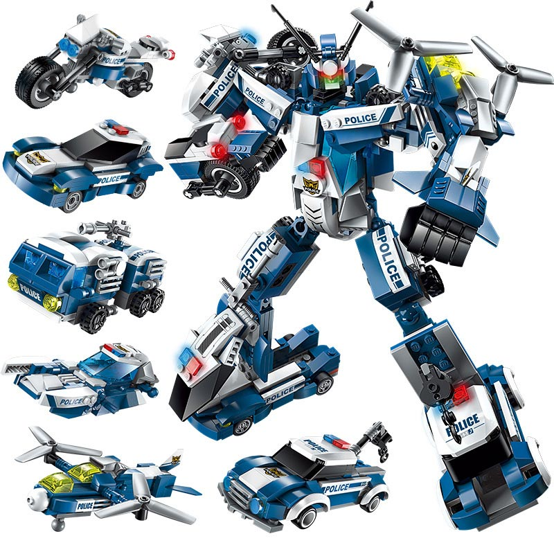 все цены на Enlighten 577pcs 6in1 Police The War Generals Robot Car Plane Moto Boat Legoings Building Block Brick Toys For Children Gifts онлайн