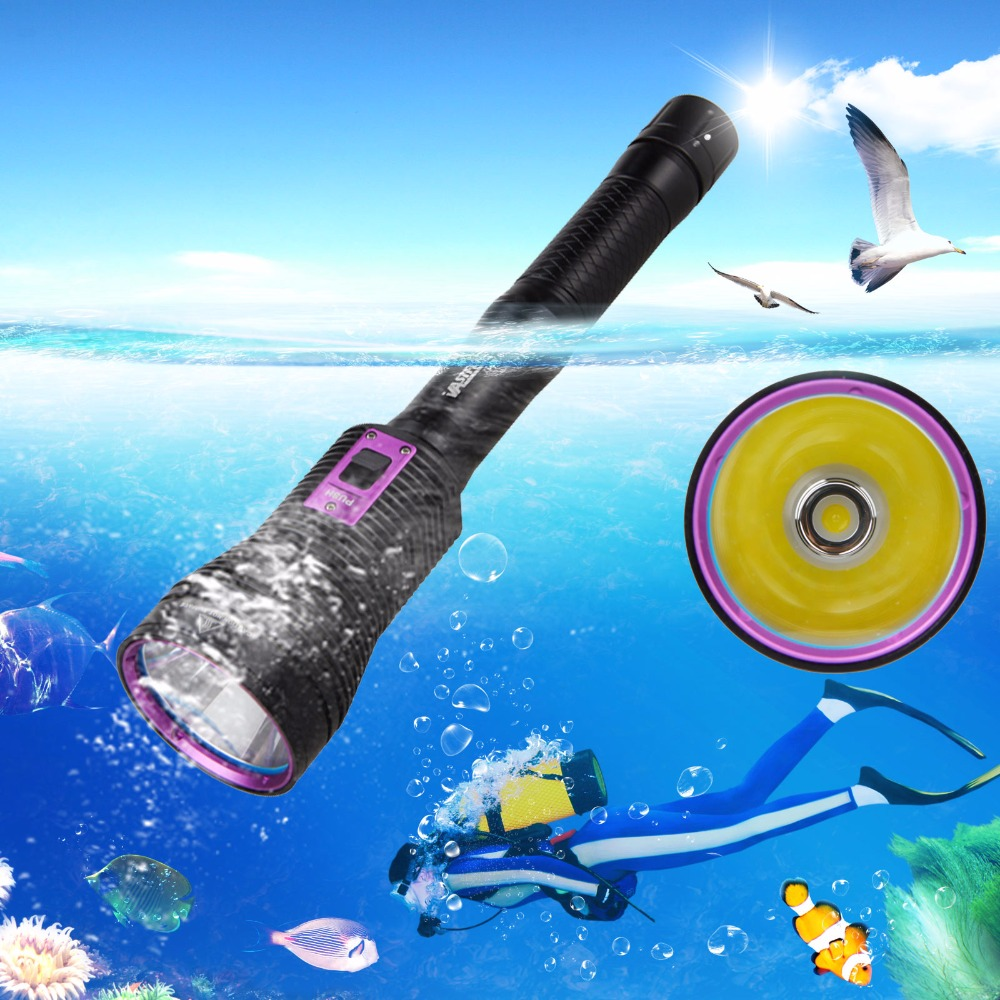 Portable 8000LM XHP70 LED Scuba Diving Flashlight Aluminum Torch Light Lamp by 3x18650/26650 waterproof ultraviolet diving light 3x uv led lamp diving flashlight scuba torch dive lanterna pcb 26650 battery eu charger