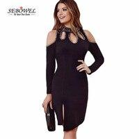 Autumn Office Womens Dresses New Arrival 2016 Black Blue Long Sleeve Bodycon Mini Dress Cold Shoulder