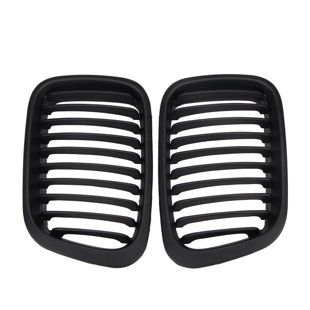 Pair ABS Front Matte Black Kidney Grille Grill Right Left Replacement For BMW E46 1998 2001 3 Series Sedan 4