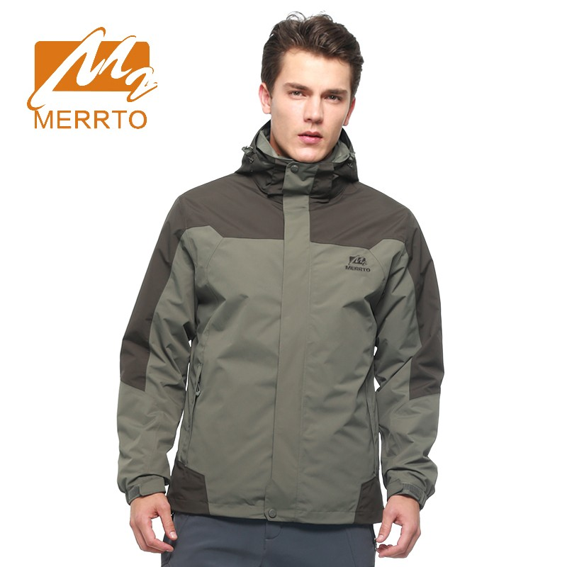 2017 Merrto Mens Outdoor Jackets Camping Hiking Sports Jackets Windproof Waterproof Jackets For Men Free Shipping MT19128 2017 merrto mens hiking boots waterproof breathable outdoor sports shoes color black khaki grey for men free shipping mt18638
