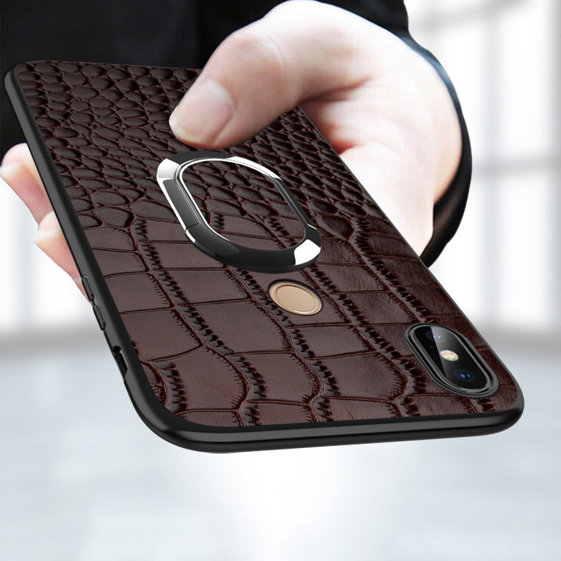 Phone Case For Xiaomi Mi 6 8 se A2 6X Mix 2s Max 3 Shockproof Car Holder Magnetic Suction Ring Bracket Crocodile Texture Housing