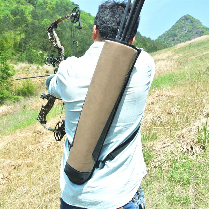 High Quality 58x13 cm Leather Arrow Quiver Super Fiber Arrow Bag for Outdoor Archery Bow Hunting Shooting