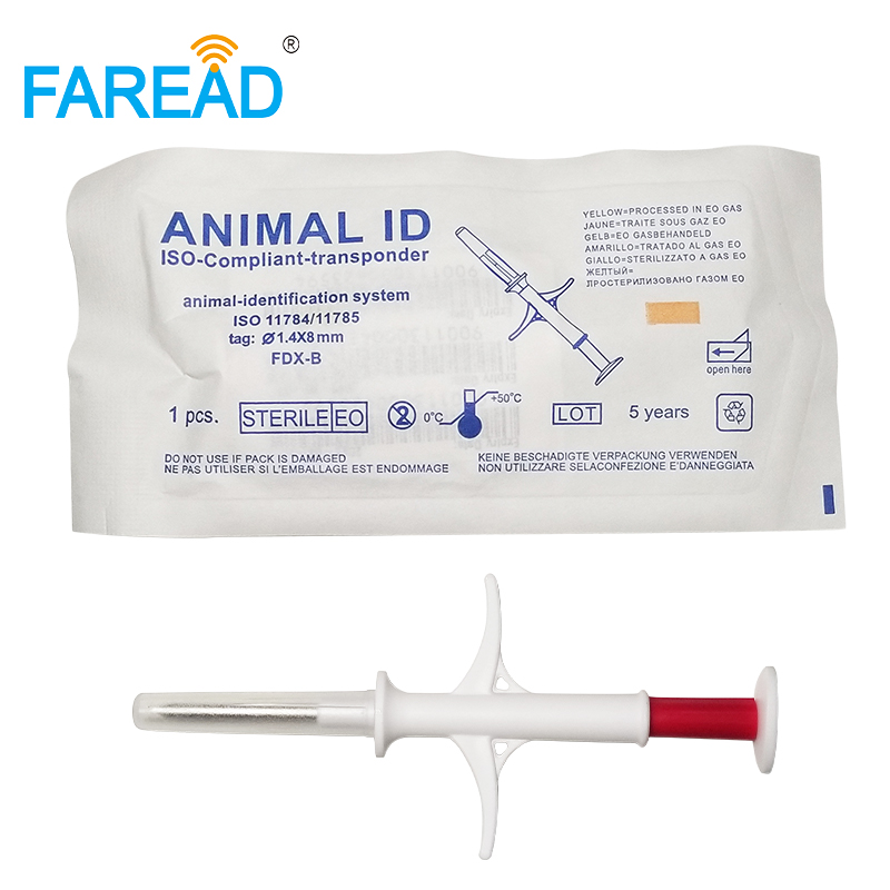 X100 1.4*8mm Animal ID Microchip Syringe RFID Injector With Glass Tag For Fish Mouse Small Animal With Free Encoding