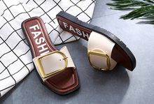 New Ladies Women Slippers Shoes Summer Sandals Fashion Cut Out Beach Slides Slipper Female Summer Beach Thong Shoes Plus Size 40(China)