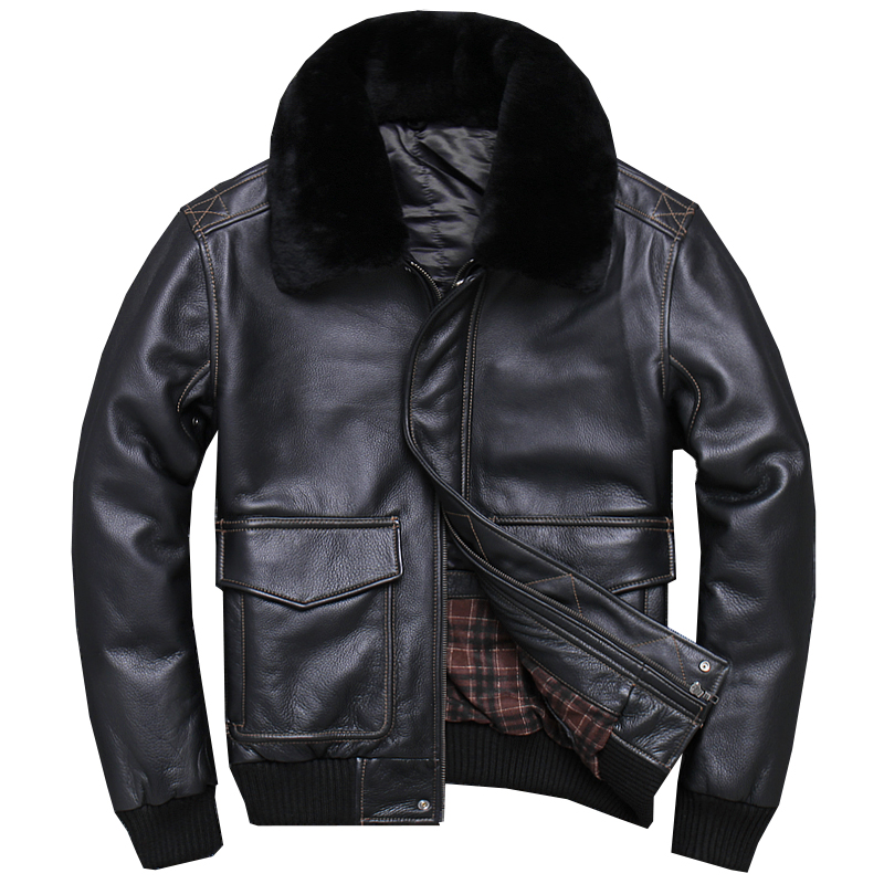 2019 Black Men USAF A2 Pilot Leather Jacket Wool Collar Genuine Thick Cowhide Russian Winter Aviator Leather Coat FREE SHIPPING