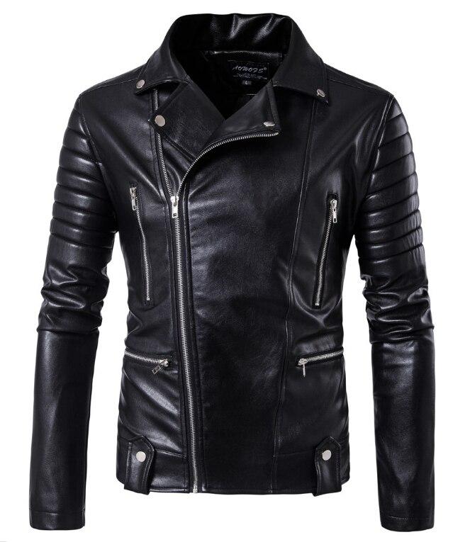 New Leather Jackets Men Slash Zipper Motorcycle Jackets Black Rider jaqueta de couro masculino 2017 fashion men clothing