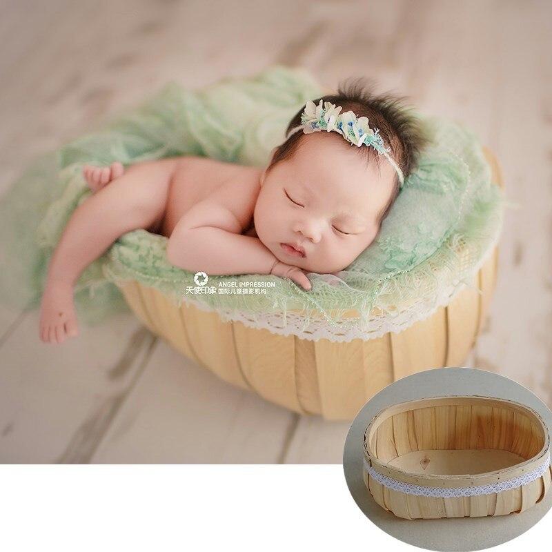 Nouveau-né Flokati posant bébé photographie accessoires Photo Shoot accessoires tressé bambou cadre panier pour Studio bébé posant canapé