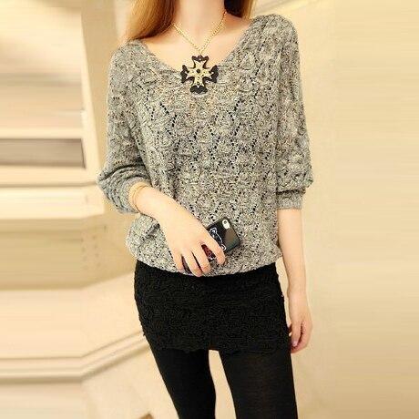 Diseño del recorte flojo suéter de las mujeres camisa delgada de aire acondicion