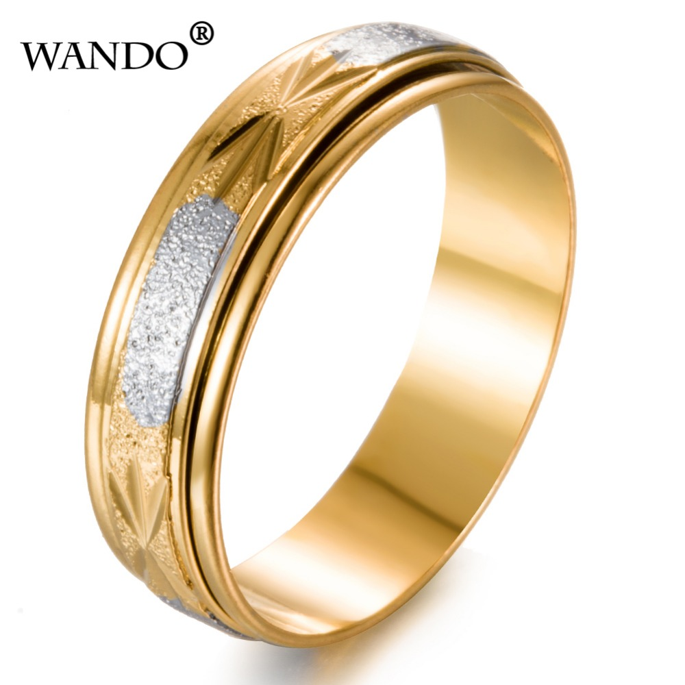 WANDO gold color Rotating retro mens womens frosted rings Wholesale Couples Middle East Muslim India Ethiopian ring wr37-6