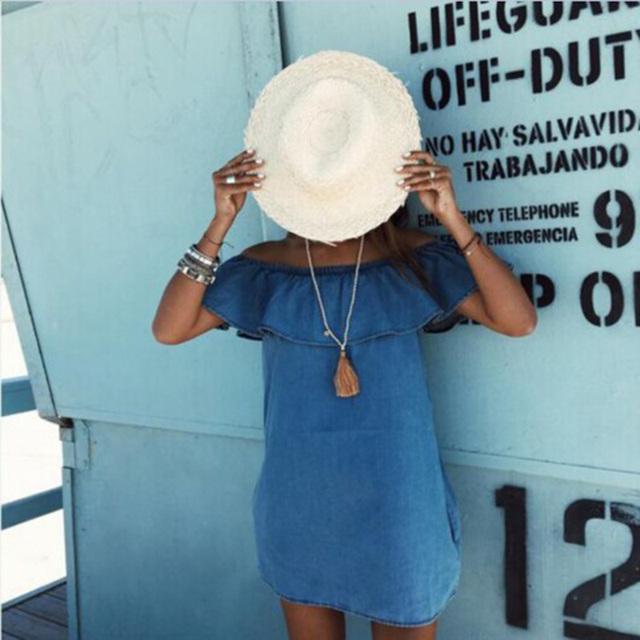 Women Dress 2017 New Fashion Designer Loose Slash Neck Jeans Dresses Summer Casual Sleeveless Ladies Elegant Denim Summer Dress