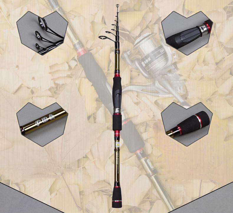 Best spinning telescopic fishing rod 1.9m 2.1m 2.4m 2.7m raft portable carbon fiber telescopic fishing rod lure weight 15-25g (5)
