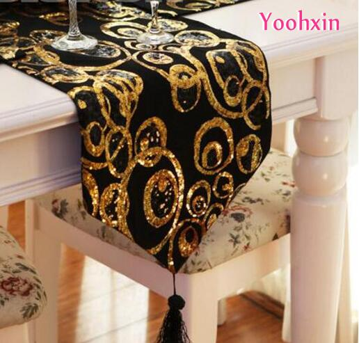 Luxury Gold Bling Black Satin Sequin Bed Table Runner Towel Placemat  Wedding Christmas Tea Table Cloth