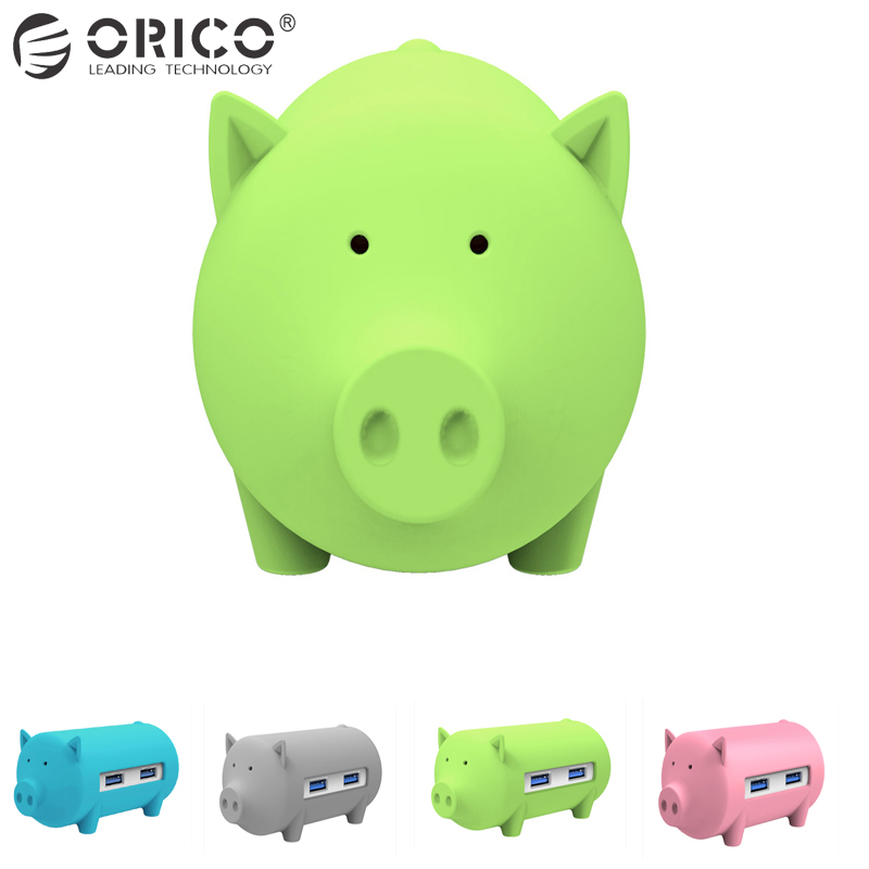 ORICO Cute Pig HUB Multifunción USB3.0 OTG Hub 3 puertos USB y lector de tarjetas TF SD Compatible con Windows Mac Linux