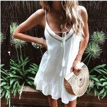 Summer Strap Dresses 2019 New Women Boho Casual Solid Sleeveless V-Neck Loose Short Mini Dress