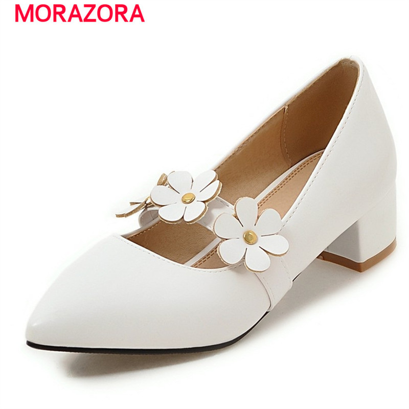 MORAZORA New mary janes shoes hot sale women pumps single shoes shallow big size 34-47 high heels shoes 4.5cm elegant loslandifen mary janes women pumps new