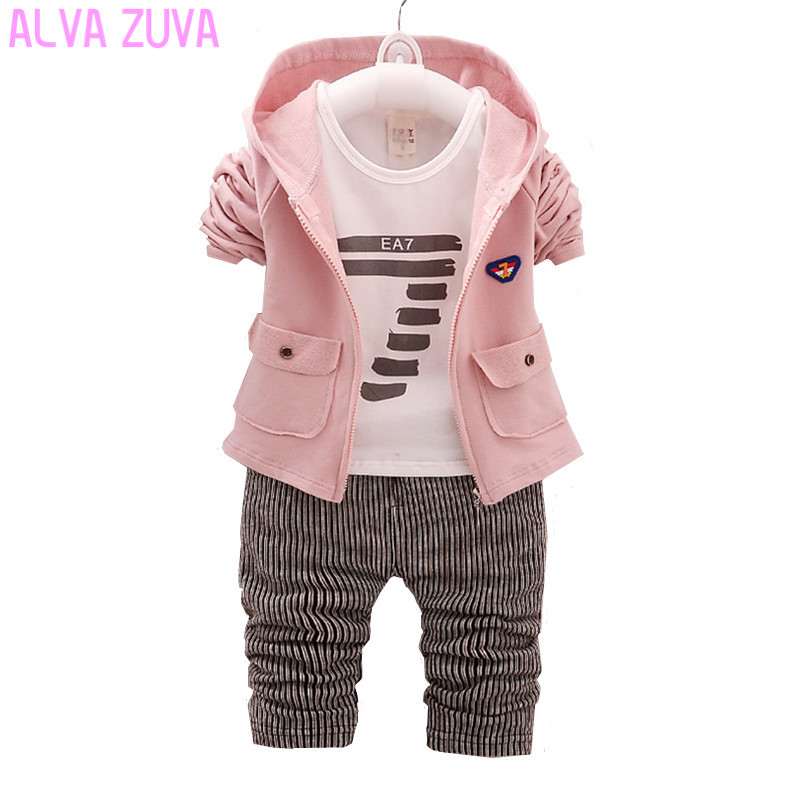ALVA ZUVA 2017 Autumn Children Kids Clothes Toddler Baby Boys Girls Jacket+T-Shirts+Pants 3Pc/Sets Bebe Clothing Sets Clt322 3pcs children clothing sets 2017 new autumn winter toddler kids boys clothes hooded t shirt jacket coat pants