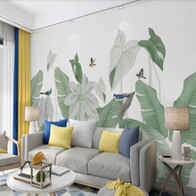 Factory direct Nordic hand-painted small fresh tropical plants flowers and birds background wall paper murals can be customized