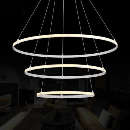 Creative Art Ring Shape Acrylic Droplight Modern LED Pendant Light Fixtures For Living Dining Room Hanging Lamp Indoor Lighting modern creative nordic1 3 5 ring shape acryl pendent lamp for hall restaurants dining room hanging lamp ac 90 265v a133