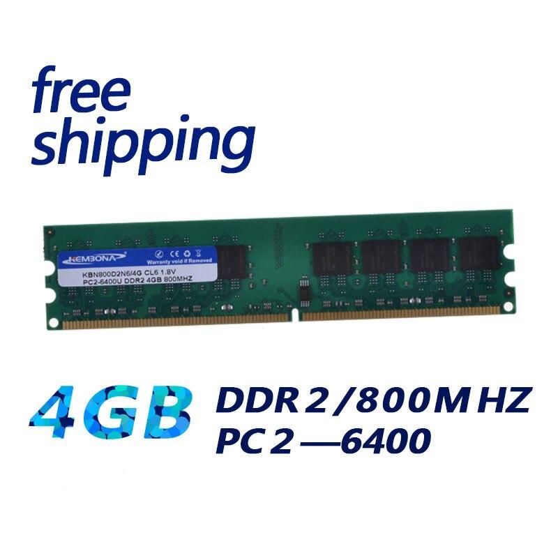 KEMBONA marque DDR RAM LONGDIMM pc de bureau DDR2 4 GB 4G 667 MHZ 800 MHZ pour intel et pour A-M-D RAMs