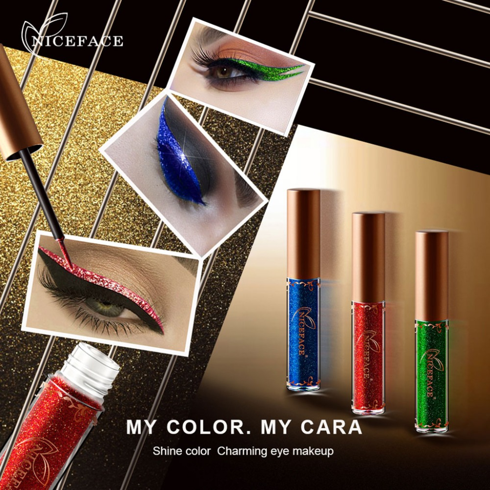 NICEFACE Waterproof Sparkling Glitter Shimmer Liquid Eyeliner Party Makeup Colorful Eyeliner New