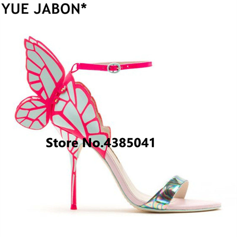 New Fashion Patent Leather Mixed Color Women Butterfly Wing Sandals Sexy Party Stiletto Lady Wedding High