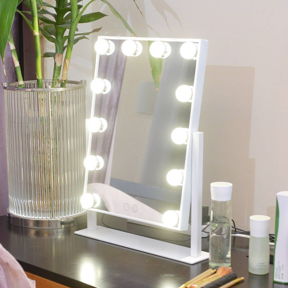 Professional Adjustable 12 LED Lighted Makeup Mirror Portable Touch Screen Desktop Vanity Metal Frame Cosmetic Mirrors 22 led touch screen makeup mirror 10x magnifier bright lighted cosmetic makeup mirror portable vanity countertop 180 rotating