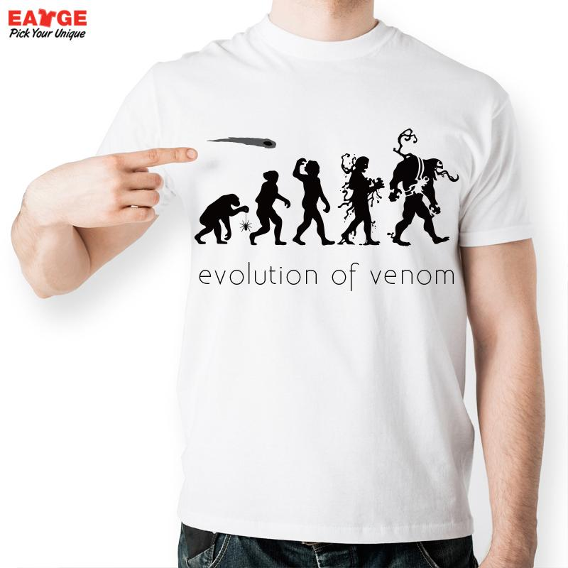[EATGE] Cool Fashion Short Sleeve Venom <font><b>T-shirt</b></font> Novelty <font><b>Spiderman</b></font> <font><b>Evolution</b></font> T Shirt Men White O-neck Spider Man Tshirt For Women