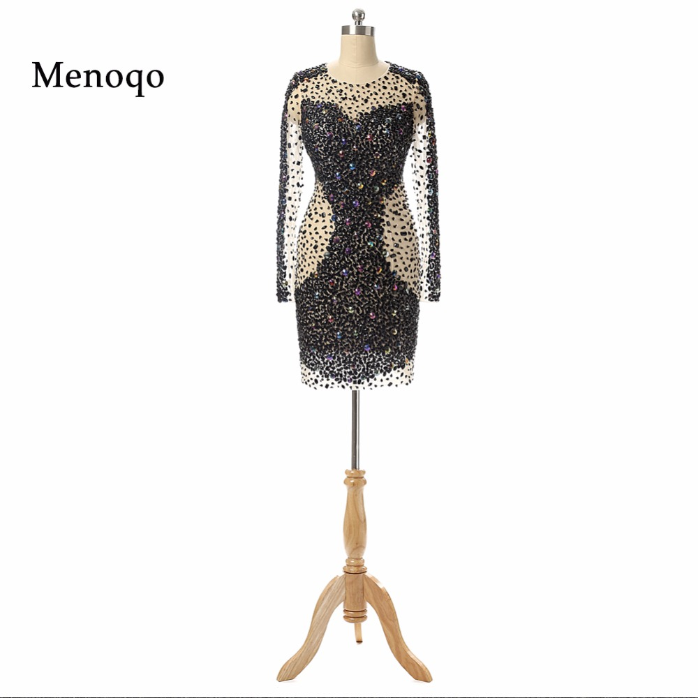 Hot Sale Short Prom   Dresses   Mini Graduation   Dresses   Long sleeve Party Gown 2019   Cocktail     Dresses   Fully Beaded Real Photo DB21302