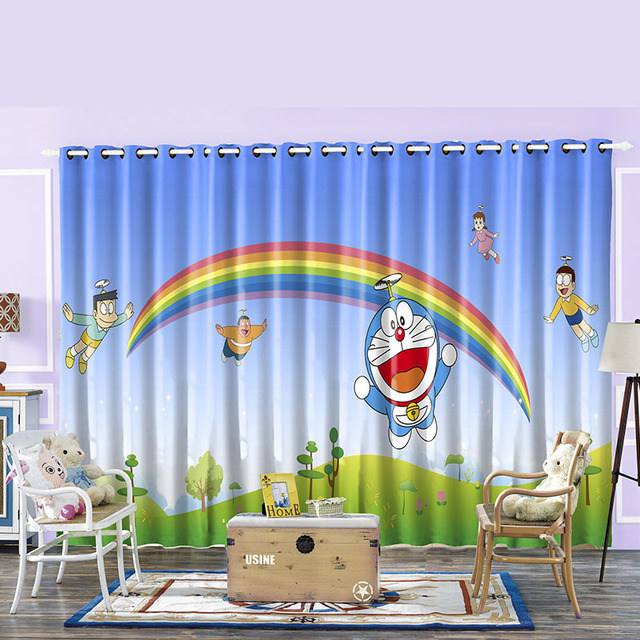 Blackout Curtains boys blue blackout curtains : Rainbow Cat Planet Cartoon Baby Boy Blackout Curtain For Children ...