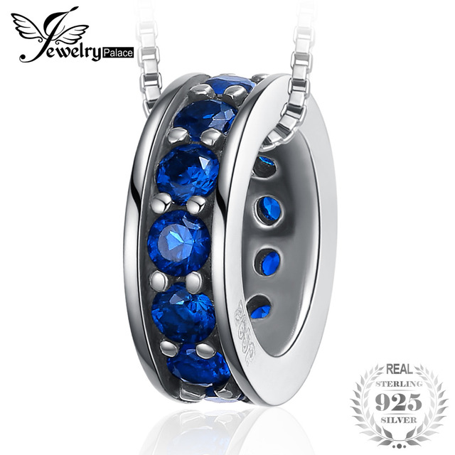JewelryPalace Vintage Wheel of Fate Created Blue Spinel Pendant 925 Sterling Sil