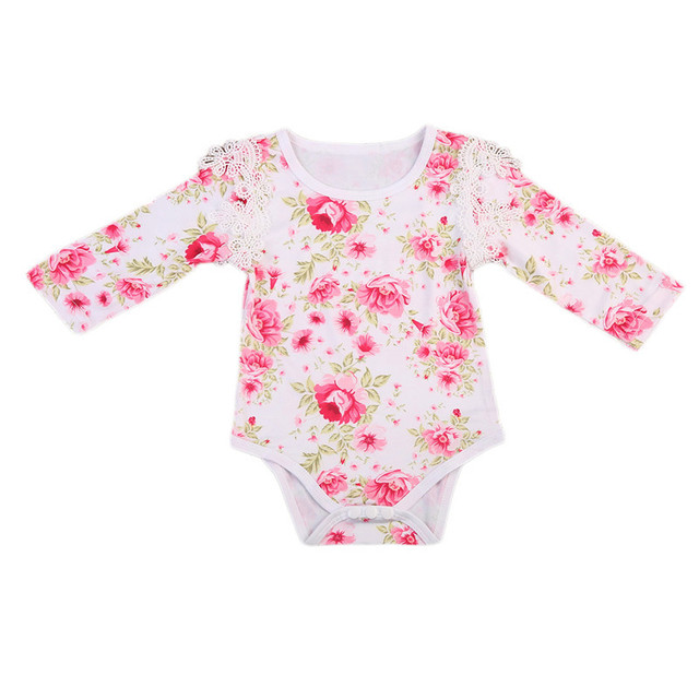 860c54b58b92 2 Color Picked 0 24M Baby Girl Floral Romper Newborn Kids Baby Girls ...