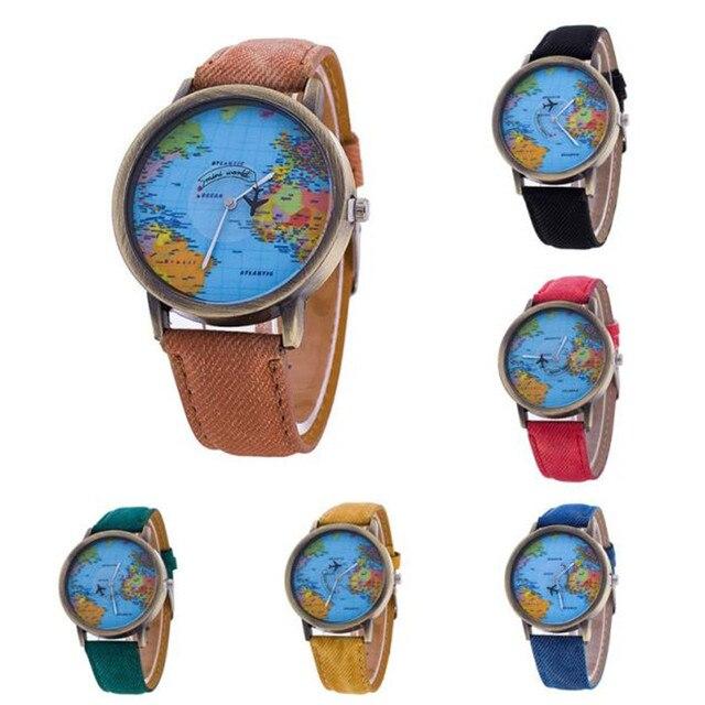 Men Women Watch World Map Design Analog Quartz Watch watches men luxury brand wr